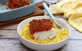 Dos de cabillaud en crumble de chorizo et parmesan