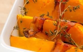 Courge butternut au bacon et au thym