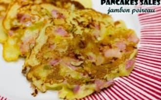 Pancakes salés jambon-poireau