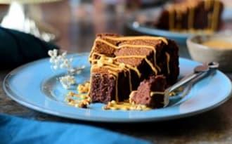 Gateau fondant au beurre de cacahuète et chocolat