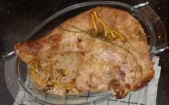 Cuisses de dinde aux oignons confit et aux champignons