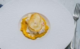 Cabillaud, sauce au beurre blanc gingembre et poire et sa purée de potimarron