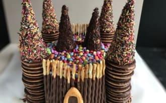 Gâteau château de princesse chocolaté