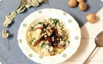 Lasagnes aux blettes, champignons et pesto
