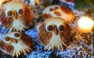 Les chouettes biscuits de Noël, sablés hiboux