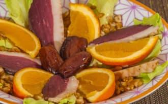 Salade de petit épeautre au magret séché et aux oranges