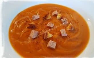 Velouté de cCarottes aux marrons et foie gras de canard