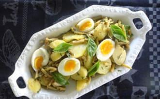 Salade de pommes de terre, haricots verts et anchois