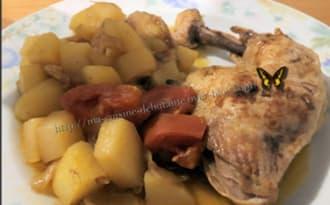 Cuisse de poulet et ses pommes de terre tomates