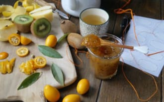 Confiture pomme-kiwi-kumquat