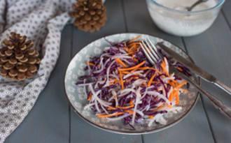 Salade de chou rouge, radis d'hiver et carottes