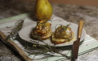 Filet mignon à la moutarde et aux poires