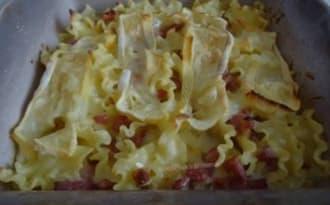 Pâtes aux lardons et crème de Reblochon, gratinées