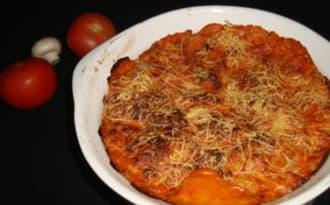 Lasagnes de crêpes tomates, champignons et basilic