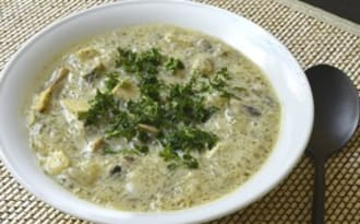 Soupe repas aux champignons