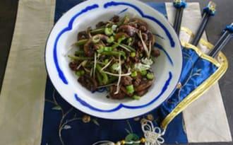 Hachis aux haricots verts et pousses de haricots mungo
