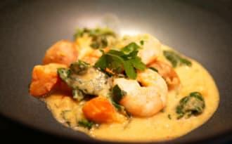 Curry d'hiver. Crevettes et potimarron.