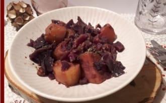 Chou rouge, pommes de terre et lardons