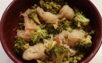 Konjac aux brocolis et aux petits pois