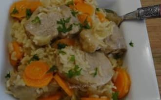 Filet mignon de porc au riz, carottes à la crème