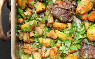 Agneau, navets et rutabagas rôtis au four, gremolata