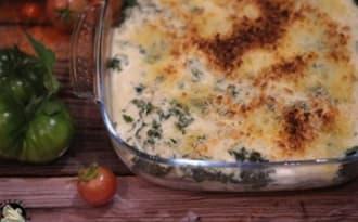 Gratin de pommes de terre au chou kale et cheddar