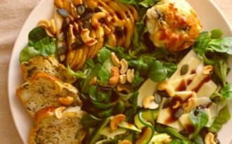 Muffins courgette chèvre salade