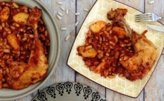 Tajine de poulet aux haricots blancs et pommes de terre