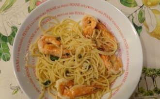 Spaghetti au citron et crevettes