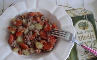Ragoût de pommes de terre et carottes, au bœuf