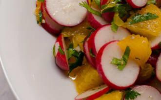 Salade de radis, à l'orange et à la coriandre