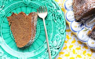 Gâteau au gingembre, sirop de Liège et bière stout