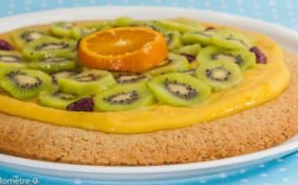 Tarte aux kiwis, mandarine curd et cranberries
