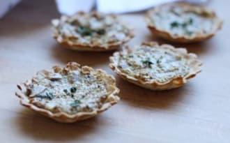 Mini-tartelettes express aux champignons et chèvre frais