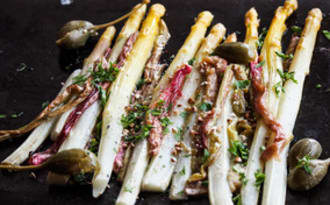 Recette asperges blanches et rhubarbe
