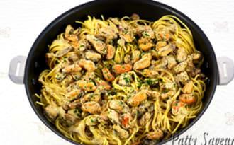Spaghetti aux moules à la crème