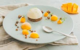 Crème vanille, sablé et mangue