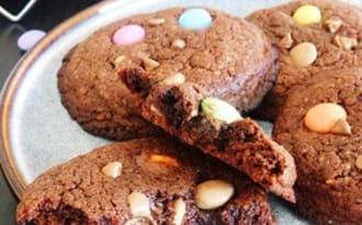 Cookies tout chocolat et Smarties