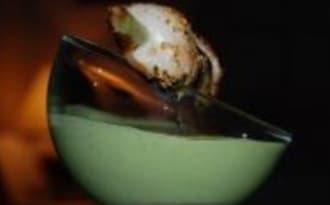 Crème de Petits Pois, Brochette de Noix de Saint-Jacques