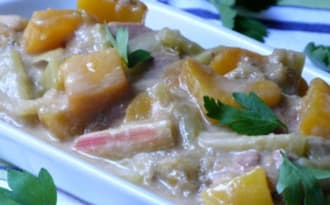 Filet mignon à la mangue, rhubarbe et gingembre