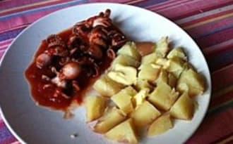 Poulpes sauce tomates et poivrons