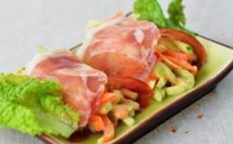 Nems de jambon sec, juliennes de légumes en anchoïade