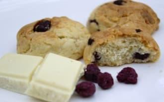 Cookies au chocolat blanc et framboises