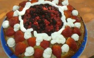 Gâteau yaourt mascarpone aux fruits rouges
