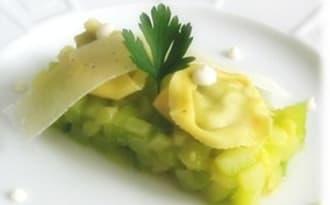 Courgettes au beurre et Tortellinis au Pesto, sauce Ricotta Parmesan