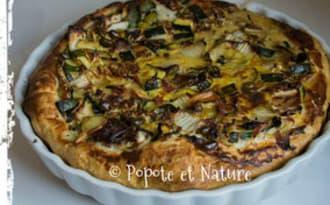 tarte au chou Pé Tsai -jambon-courgettes-pignons et pistaches