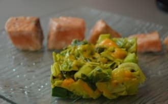 Saumon grillé et fondue de poireaux à la mimolette