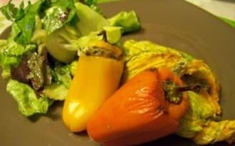Minis poivrons et fleurs de courgettes farcis champignons et ricotta