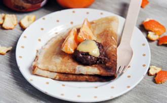 Crêpes doucement acidulées, à la pâte à tartiner et au Clementine Curd