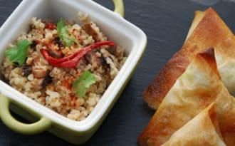 Samoussas de Boeuf au Curry et salade de Boulgour